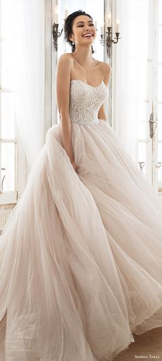 sophia tolli 2018 bridal trends strapless sweetheart beaded bodice ball gown wedding dress (zephyra) mv romantic pink blush color -- 2018 Wedding Dress Trends to Love Part 1