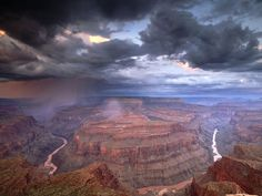 A thunderstorm over Grand Canyon NP, Arizona Grand Canyon Arizona, Arizona State, Arizona Usa, Grand Canyon National Park, National Parks, Arizona Travel, Places To Go, The Places Youll Go, Cool Places To Visit