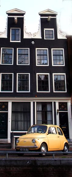 Just loved those black painted brick buildings in Amsterdam, Netherlands