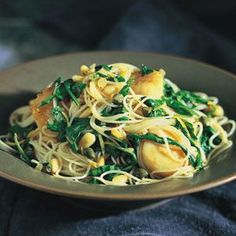 Recipe of the Day from Williams-Sonoma.com: Our Angel Hair Pasta with Scallops and Arugula is a healthy meal you can prepare in minutes. Simply season and sear the scallops, toss in some pine nuts for crunch and finish with a touch of lemon zest.    Angel Hair Pasta with Scallops and Arugula  Click here for the recipe: http://bit.ly/zMxchU