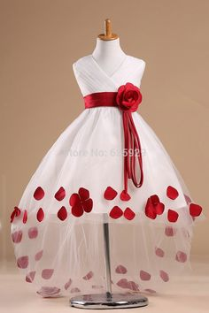 Cute Real Photo 2014 Red Handmade Flower Petals High Low Hemline Flower Girl Dress Kids Pageant Gown For Little Girls