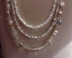 Three+strand+Clear+and+White+Beaded+Necklace+by+Tarasexpressions,+$32.00