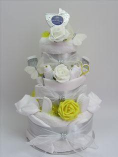 Unisex nappy cake great baby gift - http://www.ebay.co.uk/itm/Baby-Nappy-cake-neutral-unisex-luxury-baby-shower-gift-present-white-silver-/201629282814?ssPageName=STRK:MESE:IT