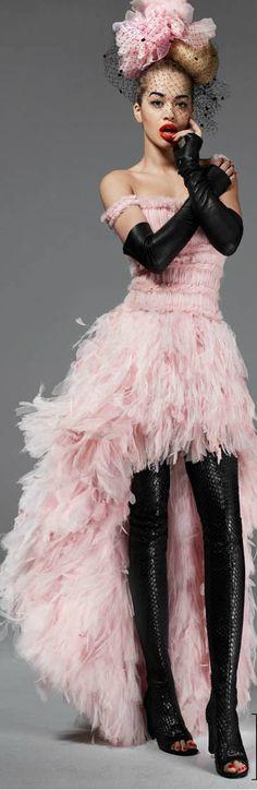 Rita Ora, Elle Magazine May 2013 ● Chanel Haute Couture - pink and black