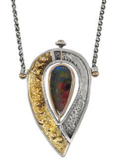 Twisting Ammolite, Robyn Cornelius, Little Rock Jewellery Studio, Double Sided Ammolite, 24K Gold, 14K Gold, Sterling SIlver