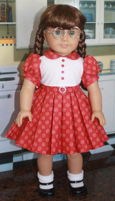American Girl Style Pleated Dress in Red and by RuthielovestoSew /keepers pattern