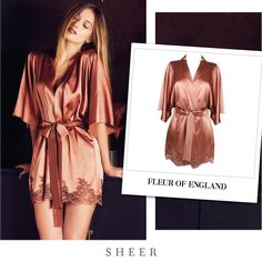 Fleur of England WHISKEY SILK ROBE from SHEER