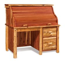 Amish Rustic Log Single Pedestal Rolltop Desk All the storage and gorgeous of a rolltop desk in rustic log wood. Natural, rugged look along with full function. Quality wood furniture made in Amish country.