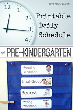Daily Schedule for PreK Class (and printables)
