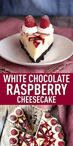 This white chocolate raspberry cheesecake will make you swoon! Sweet, creamy white chocolate cheesecake, swirled with ruby-red raspberry sauce. Homemade Cheesecake, Cheesecake Cupcakes, Simple Cheesecake Recipe, Oreo Crust Cheesecake, Mini Cheesecake Bites, Chocolate Cheesecake Recipes, Best Cheesecake, Christmas Cheesecake, Christmas Desserts