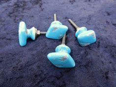 $17 for 4 | Antique Style Turquoise Ceramic by fantasycottage