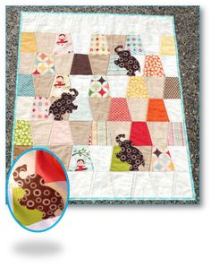Charming Pachyderms Baby Quilt.  Cute idea.  Do a tumbler block and throw a couple of appliques on it.