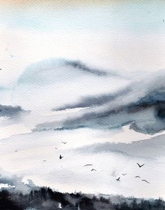 Watercolor Print - Landscape Watercolor Painting - Abstract - Modern - Watercolour Art - Grey