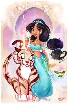 Disney Aladdin art - Rocío Cintrón: Art of Jasmine with vinylmation Princesa Disney Jasmine, Disney Princess Jasmine, Disney Princess Art, Disney Artwork, Disney Fan Art, Disney Drawings, Disney Love, Walt Disney, Deco Disney
