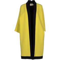 Fausto Puglisi Full-length Jacket ($535) ❤ liked on Polyvore featuring outerwear, jackets, yellow, single breasted jacket, full length jacket, long sleeve jacket, fausto puglisi and multi pocket jacket
