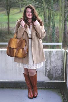 Plus Size Outfit - white lace dress from Asos curve, beige winter coat from Long Tall Sally and cognac leather boots from Jilsen