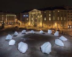 "Olafur Eliasson and Minik Rosing, ""Ice Watch"" (2015) (photo by Martin Argyroglo, © 2015 Olafur Eliasson)"