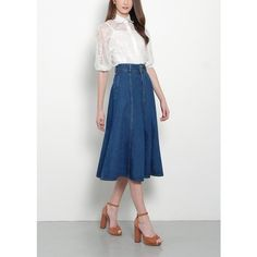 Her Velvet Vase Repetto Denim Midi Skirt (4,410 INR) ❤ liked on Polyvore featuring skirts, blue, a-line skirt, blue midi skirts, knee length denim skirt, blue a line skirt and white knee length skirt