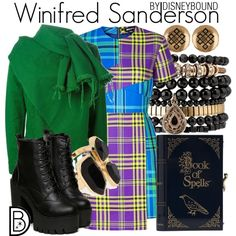 Winifred Sanderson by leslieakay on Polyvore featuring House of Holland, Marques'Almeida, Charlotte Olympia, Samantha Wills, Alex and Ani, River Island, Halloween, disney, disneybound and disneycharacter