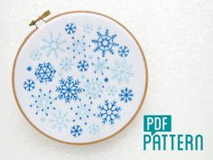 Snowflakes Embroidery Pattern, Snow Needlework Pattern, Christmas Embroidery, Xmas Hoop Art Pattern, DIY Christmas Decor, Winter Embroidery by OhSewBootiful on Etsy https://www.etsy.com/listing/463342502/snowflakes-embroidery-pattern-snow