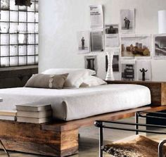 That beds pretty cool, reclaimed barn wood can look industrial or be changed to beachy at some point