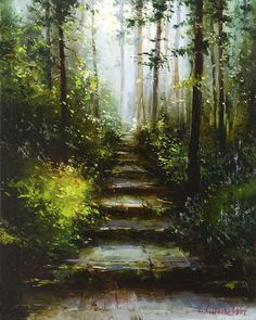 Mystical forest by Gleb Goloubetski,  Oil on Canvas, 100cmx80cm THIS PAINTING IS SOLD