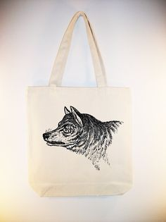 Vintage Wolf Head illustration transferred onto 15x15 Canvas Tote -- larger zip top tote style and personalization available