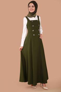 Dress Clothes For Women, Girls Fashion Clothes, Dresses For Teens, Casual Dresses, Fashion Dresses, Abaya Fashion, Muslim Fashion, Mode Hijab, Midi Pinafore Dress