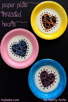 Time to get started on some Valentines crafts. Our first one of the year, paper plate threaded hearts, is a nice simple, but sweet one that is good for developing fine motor skills. Valentine Activities, Art Activities For Kids, Valentines For Kids, Valentine Crafts, Kid Art, Art For Kids, Crafts For Kids, Arts And Crafts, String Crafts