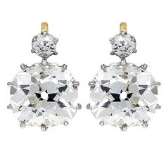 7.51 Carat Antique Cushion Diamond Gold Platinum Earrings | From a unique collection of vintage drop earrings at https://www.1stdibs.com/jewelry/earrings/drop-earrings/