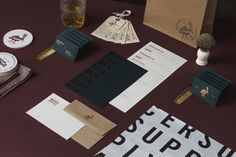 Brand identity, stationery, business cards and tags for Tennessee salon and barber Mercer Supply Co. designed by Peck & Co.