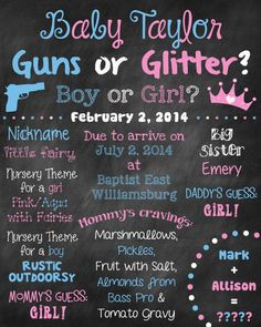 Custom Printable Gender Reveal Guns or Glitter Baby Shower Chalkboard Sign and Sign Board Poster - Baby Name Suggestions - Ideas of Baby Name Suggestions - Custom Printable Gender Reveal Guns or Glitter Baby Shower Chalkboard Sign and Sign Board Poster Glitter Gender Reveal, Baby Gender Reveal Party, Country Gender Reveal, Baby Shower Chalkboard, Getting Pregnant Tips, Unusual Baby Names, Name Suggestions, Gender Reveal Decorations, Names With Meaning