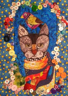 Cat art quilt by Stacy Hurt.  Embellished with buttons.