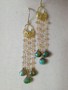 Mint Green Tassel Earrings  Mint Green Chrysoprase by ZancsJulz
