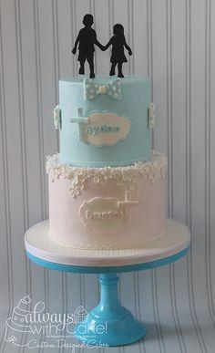 Double Baptism Cake - Cake by AlwaysWithCake Christening Cake Boy, Gateau Baby Shower, Twin Birthday Cakes, Artist Cake, Confirmation Cakes, Bithday Cake, Little Mermaid Cakes, Twins Cake, Quinceanera Cakes