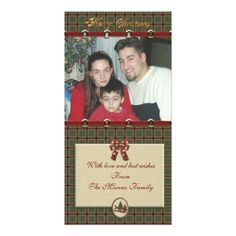 """Merry Christmas"" photo card country plaid"