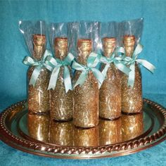Mini Champagne Bottle Customized by on Etsy Wine Bottle Favors, Mini Liquor Bottles, Empty Wine Bottles, Mason Jar Wine Glass, Glitter Champagne Bottles, Gold Bottles, Cider Gifts, Bachelorette Gifts, Wedding Party Favors