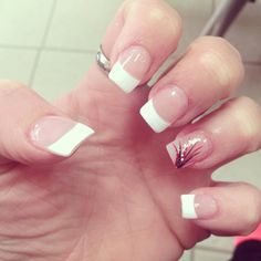 French tip with black, red, white and sparkle design.