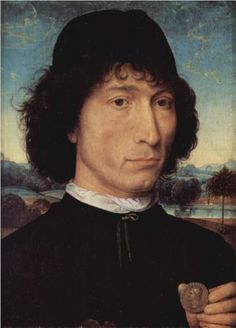 Portrait of a Man holding a coin of the Emperor Nero  - Hans Memling