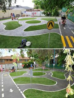 Have a big backyard? Why not Turn a backyard corner into surprising bike tracks.