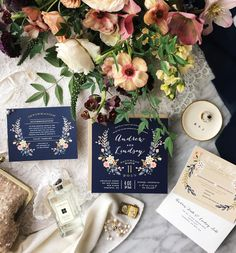 Wildflower Crest by Alethea and Ruth. Navy Wedding Invitation suite available in customizable colors only on Minted.com
