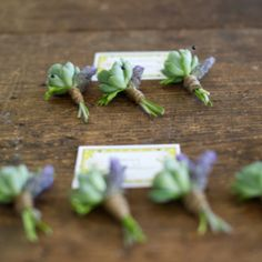 The rest of the boutonnieres will be small gray succulents and peachy-pink spray rose wrapped in gray ribbon with the stems showing.