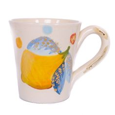 Lemon Mug by Cassandra Wainhouse | Hand-painted using 20K gold accents | shop more of the Cassandra Collection at http://www.giardinidisole.com/shop-tabletop-ceramics