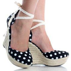#Black-Canvas Polka Dot Espadrille Womens Heel Platform Wedge Shoes