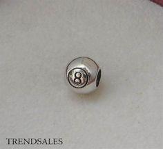 Panodora led / charm, the magic 8 ball, rare / udgået led - str. alm. - sølv