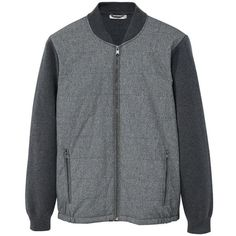 Combined Cotton Bomber Jacket ($94) ❤ liked on Polyvore featuring men's fashion, men's clothing, men's outerwear, men's jackets, medium heather grey, mens bomber jacket, mens cotton jacket, mens zip jacket, mens zipper jacket and mens long jacket