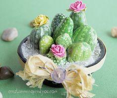 DIY Tutorial: Painted Pebble Cactus Planters - such an adorable craft idea!