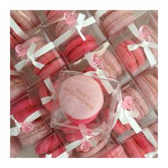 It's a girl! Baby shower macarons- Strawberry Vanilla and Raspberry. Custom French Macarons by Swallow My Words.