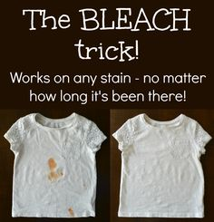 I can't tell you how many times I've had to scrub stains out of my little monkeys' clothes. You betcha. More times than I can count. That's why I dress my kids in whi. Bleaching White Clothes, Ketchup, Removing Chocolate Stains, Stain On Clothes, Diy Clothes, Grease Stains, Remove Stains, Little Monkeys, White Outfits