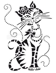 Viva Decor Universal stencils are perfect for using on all surfaces and flat objects such as canvas, wood, MDF and papier mache, plastered walls and textiles. One durable and washable polyester stencil measuring approximately x Stencils, Silhouette Portrait, Cat Drawing, Cat Tattoo, Silhouette Projects, Pyrography, I Love Cats, Cat Art, Paper Cutting
